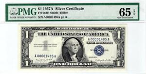 Fr. 1620 $1.00 1957A Silver Certificate PMG Gem Uncirculated 65 EPQ 4 Digit SN