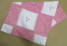 Crochet Towel, traditional hand made, white and pink