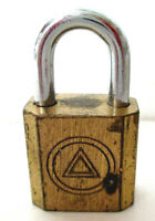 Vintage Small Brass Padlock 1 1/2 Inches Tall - Made in Hong Kong - No Key