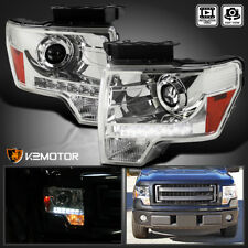 2009-2014 Ford F150 F-150 Crystal LED Strip Projector Headlights Pair