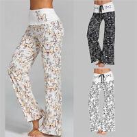 Womens Cat Printed Palazzo Pants Long Loose Yoga Lounge Sports Wide Leg Trousers