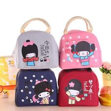 Japanese Girl Canvas Bento Lunch Boxes Portable Insulation Food Bag Thickening