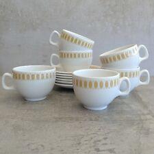 6 Vintage Ridgway Steelite Mayfair Teacups Saucers England Vitreous Hotel China