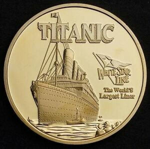 Titanic 2018 UNC White Star Line - RMS Titanic Ship Gold Plated 40mm Coin