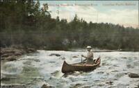 Canoe Shooting Rapids Mississagua Mississaugua River Ontario c1910 Postcard