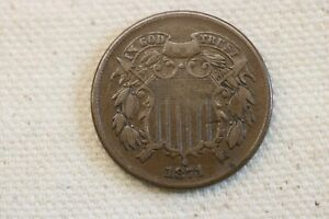 Better Date  1871 VF+  Two Cent Piece