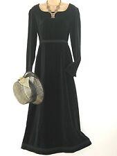 LAURA ASHLEY VINTAGE BLACK VELVET REGENCY STYLE HIGH WAIST LONG EVENING DRESS,10