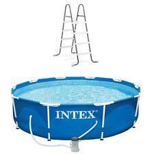 Intex 10ft x 30in Metal Frame Above Ground Pool & Intex Steel Frame Pool Ladder