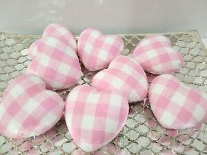 8 Valentine's Day Buffalo Plaid Heart Pink White Checkered Farmhouse Vase Filler