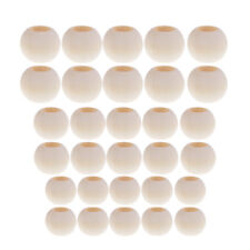 30x Natural Large Hole Round Wooden Beads for Macrame European Charms Crafts
