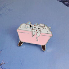 Cat Bathtub Shower Design Enamel Broooches Pin for Clothing Suit Jeans D