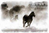 Print Art Running horses Animal Watercolor (READ !) custom painting GB1