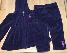 USED JUICY COUTURE 2 PIECE OUTFIT GIRLS 24 MONTHS NAVY BLUE PINK LOGO VELOUR
