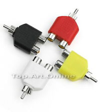 4x RCA Audio Y Séparateur Adaptateur Plug Mâle Vers Femelle Accessoires Câble