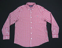 Vineyard Vines Dark Red Gingham Check Slim Fit Long Sleeve Tucker Shirt Mens L