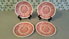 "MASON'S ""VISTA"" Pink Red Transferware Ironstone Set of 4 Bread & Butter Plates"