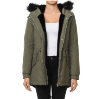 Women Winter  Parka Military Coat Long Warm Faux Fur Trench Hooded Jacket (S-3lx