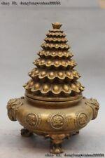 Chinese Bronze Copper Treasure Bowl Elephant Head Wealth Yuanbao Money Statue