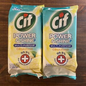 CIF Set Of 2 Power & Shine 90 Multi-Purpose Large And Thick Wipes Citrus Fresh