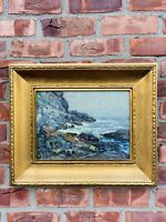 C1920 American Impressionist Painting Rocky Coast New England Signed Ossip Linde