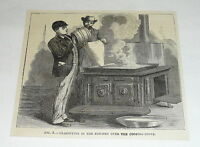 1877 magazine engraving ~ CLARIFYING IN THE KITCHEN