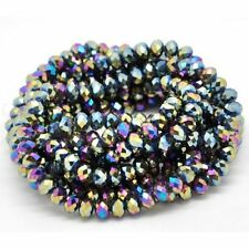 1 STRAND MULTI-COLOUR CRYSTAL FACETED RONDELLE BEADS~6mm~APPROX 100 BEADS  (79C)