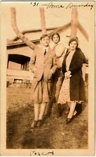 Old Vintage Antique Photograph Two Young Women With Boy Wearing Knickers