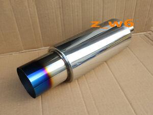 """JDM N1 Style Burn Tip Stainless Steel Racing Resonator Exhaust Muffler 2"""" Inlet"""