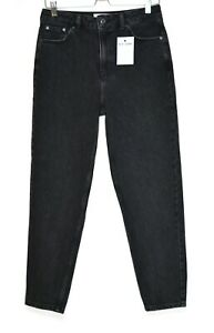 Topshop MOM High Waisted Relaxed Tapered Black 90s Jeans Size 10 W28 L30