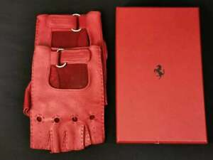 Official Ferrari Racing Driving Leather Gloves • Size Large • Red#