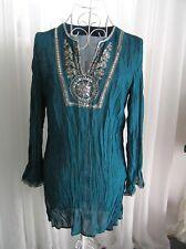 Women TEMT Long Sleeve Chiffon Top Blouse Evening Jade Green with Sequins Sz10