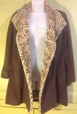 Windsmoor Uk 12 Oversized Coat Animal Print Faux Fur Trim Wool Cashmere Blend