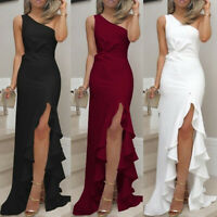 Women One Shoulder Ruched Ruffle Ladies Formal Evening Dress Slim Maxi Dresses