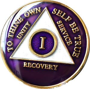1 Year AA Medallion Tri-Plate Metallic Purple Sobriety Chip