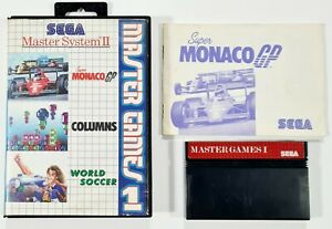 SEGA Master System GAMES 1 SUPER MONACO GP/COLUMNS/WORLD SOCCER Retro/Pixel