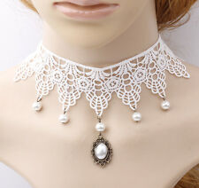 ROMANTIC BRIDAL NECKLACE  COLLAR CHOKERS WHITE WEDDING LACE PEARL BEADS TASSEL