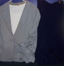 Navy Blue Skirt sz 8 Kathie Lee- Blue & White Checked Blazer- White Knit Shirt