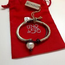 "NWT Silvertone Bar/Beaded/Leather Faux Pearl Bracelet 7""  $125 ""Lonely Pearl"""