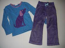 Mini Boden GIRLS 3/4 4 Stripe Dog Top Purple Velour Pants MT