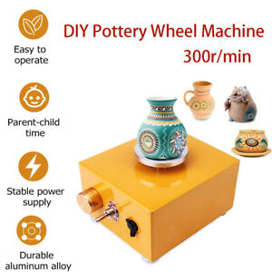 DIY Clay Wheel Machine 300r/min Ceramic Machine with Power Adapter Shaping Tools