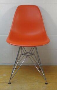 Herman Miller Eames Molded Plastic Side Shell Chair Eiffel base Orange Vitra
