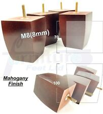 4x WOOD REPLACEMENT LEGS FURNITURE FEET FOR SOFA, CHAIRS, 100mm HIGH M8(8mm)