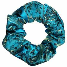 Turquoise Floral Brocade Satin Scrunchie Ponytail Holder Hair Accessories