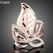 Women Austrian Crystal Leaves Design Party Ring Fashion 18K Rose Gold Jewelry