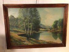 "Oil/Board Paintings German Alpine Lake 28""X20"" Signed Schneider.12pix.MAKE OFFER"
