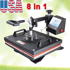 8In1 Digital Transfer Sublimation Heat Press Machine T-Shirt Mug Hat Plate 1250W