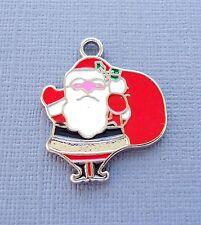 5pcs Santa Claus Christmas Enamel Pendants Charms Dangle  DIY Jewelry findings