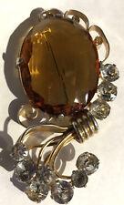 Leo Vidrio Vintage Retro Grande Diamante Imitacion facetado Topacio DISEÑO PIN