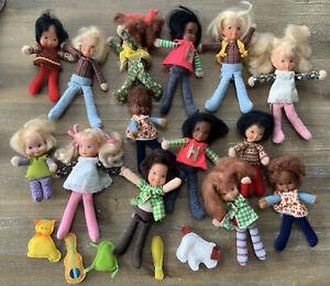 Lot 14 Vintage Dolls  & Pets HONEY HILL BUNCH 1975 Mattel LIL SPUNKY DARLING LOT