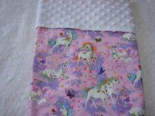 Unicorns Pink Cotton Front White Minkee Bassinet/Crib Blanket Handmade
